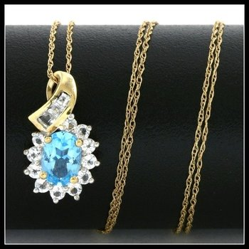 Solid 10k Yellow Gold, 2.00ctw Genuine Blue & White Topaz Necklace
