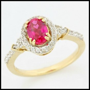 Solid 10k Yellow Gold, 2.00ctw Ruby & White Sapphire Ring size 7