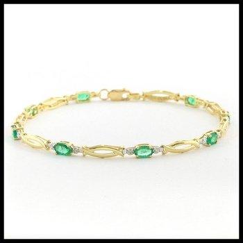 Solid 10k Yellow Gold, 2.01ctw Genuine Emerald & Genuine Diamonds Bracelet