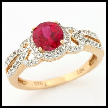 Solid 10k Yellow Gold, 2.19ctw Ruby & White Sapphire Ring sz 7