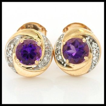 98b679603 Solid 10k Yellow Gold, 2.20ctw Genuine Amethyst & White Topaz Stud Earrings