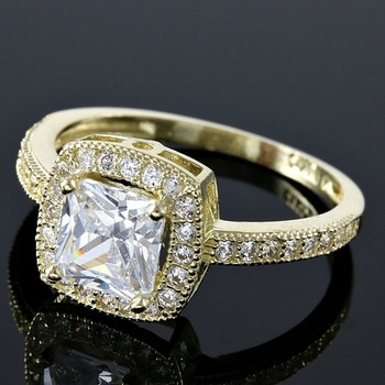 Solid 10k Yellow Gold 2.25ctw AAA Grade Russian CZ (highest grade cz) Engagement Ring sz 7