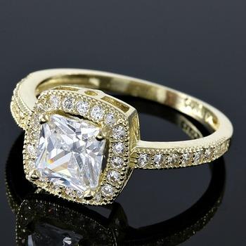 Solid 10k Yellow Gold 2.25ctw AAA Grade Russian CZ (highest grade cz) Engagement Ring sz 7