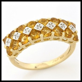 Solid 10k Yellow Gold, 2.29ctw Genuine Citrine & Genuine Diamonds Ring sz 7