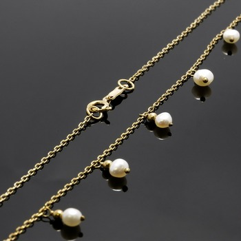 Solid 10k Yellow Gold, 2-3mm Fresh Water Pearl Necklace