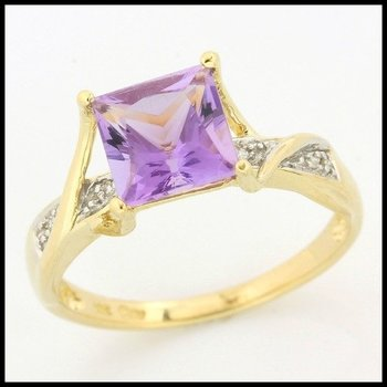 Solid 10k Yellow Gold, 2.53ctw Genuine Diamonds & Genuine Amethyst Ring sz 7.5
