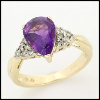 Solid 10k Yellow Gold, 2.85ctw Genuine Diamonds & Genuine Amethyst Ring sz 5