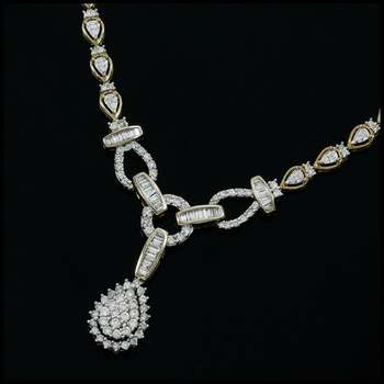 Solid 10k Yellow Gold, 3.00ctw Genuine Diamond Necklace