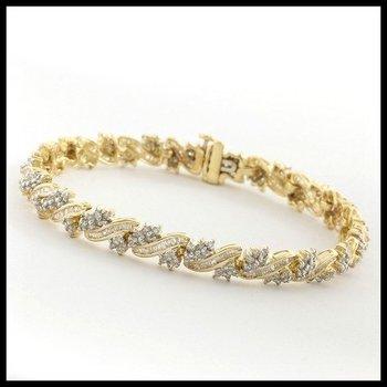 Solid 10k Yellow Gold, 3.00ctw Genuine Diamonds Bracelet