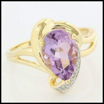 Solid 10k Yellow Gold, 3.03ctw Genuine Amethyst & Genuine Diamond Ring size 7.25