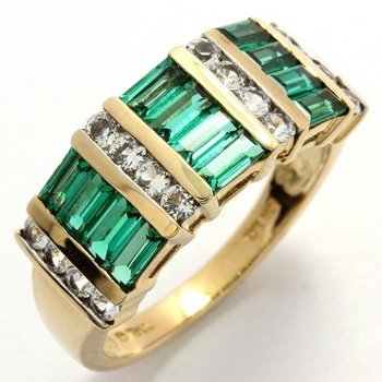 Solid 10k Yellow Gold, 3.25ctw White Sapphire & Emerald Ring Size 6 3/4