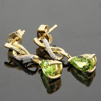 Solid 10k Yellow Gold, 3.29ctw Genuine Peridot & Genuine Diamond Earrings