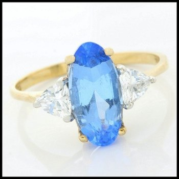 Solid 10k Yellow Gold, 3.45ctw Blue & White Sapphire Ring sz 7