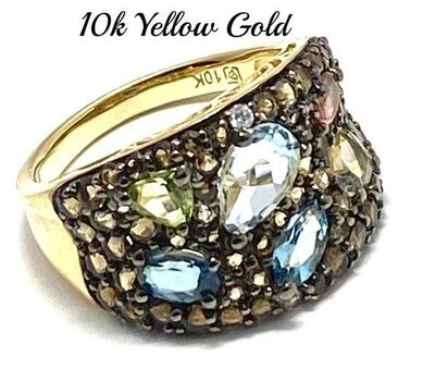 Solid 10k Yellow Gold, 4.25ctw Genuine Multi-Color Stone Ring Size 7