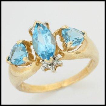 Solid 10k Yellow Gold, 4.28ctw Genuine Blue Topaz & Genuine H/SI Diamonds Ring sz 7 3/4