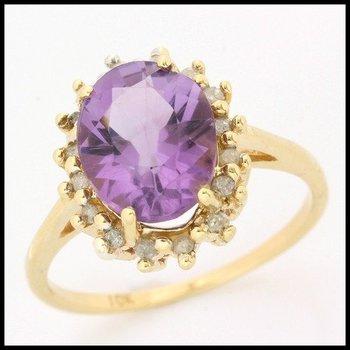 Solid 10k Yellow Gold, 4.40ctw Genuine Diamonds & Genuine Amethyst Ring sz 7