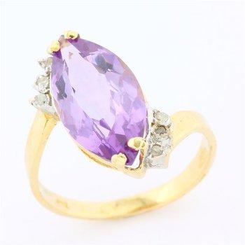 Solid 10k Yellow Gold, 4.80ctw Genuine Amethyst & 0.10ctw Genuine Diamond Ring sz 6.5