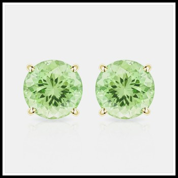 Solid 10k Yellow Gold, 4mm Peridot Stud Earrings
