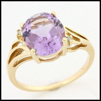 Solid 10k Yellow Gold, 5.26ctw Genuine Diamonds & Genuine Amethyst Ring sz 7