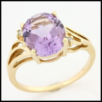 Solid 10k Yellow Gold, 5.26ctw Genuine Diamonds & Genuine Amethyst Ring sz 7