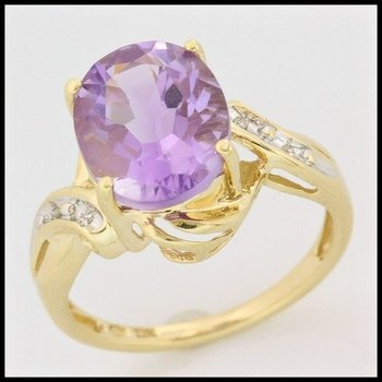 Solid 10k Yellow Gold, 6.52ctw Genuine Diamonds & Genuine Amethyst Ring sz 7