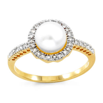 Solid 10k Yellow Gold, 6mm Freshwater Pearl & 0.25ctw Genuine Diamonds Ring sz 7
