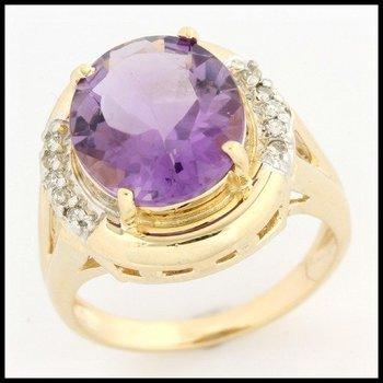 Solid 10k Yellow Gold, 7.85ctw Genuine Diamonds & Genuine Amethyst Ring sz 5.5