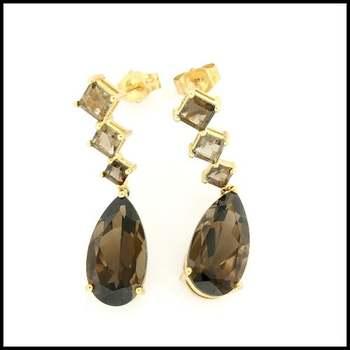 Solid 10k Yellow Gold, 9.75ctw Genuine Smoky Quartz Earrings