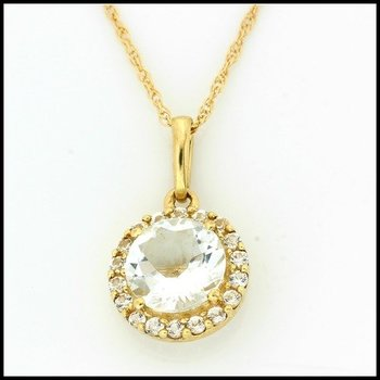 Solid 10k Yellow Gold Aquamarine & White Sapphire Necklace
