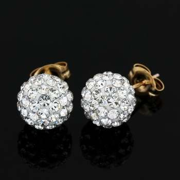 Solid 10k Yellow Gold, Cubic Zirconia 8mm Ball Stud Earrings
