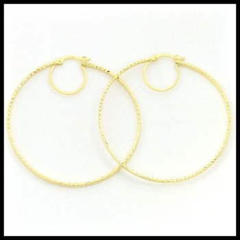 Solid 10k Yellow Gold Diamond Cut Large Hoop Earrings