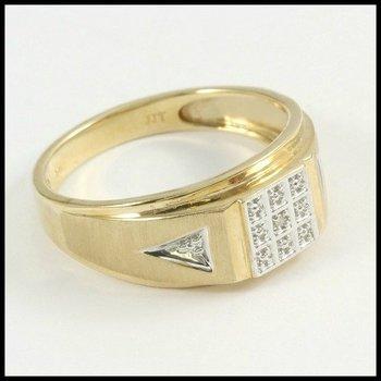 Solid 10k Yellow Gold Diamond Men's Ring Size 11