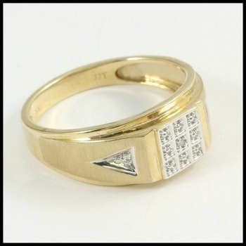 Solid 10k Yellow Gold Diamond Men's Ring Size 11