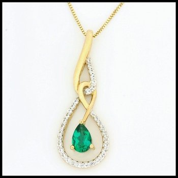 Solid 10k Yellow Gold Emerald Necklace