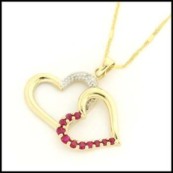 Solid 10k Yellow Gold, Genuine Diamond & Ruby Heart Pendant Necklace