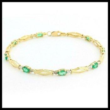 Solid 10k Yellow Gold Genuine Emerald & Diamond Tennis Bracelet