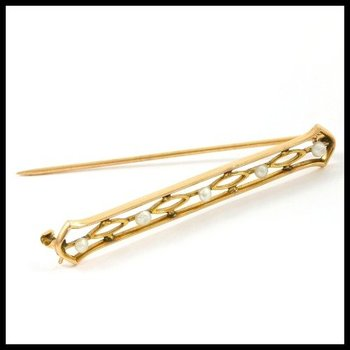 Solid 10k Yellow Gold, Genuine Freshwater Pearls Pin