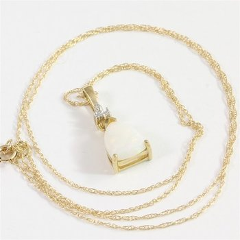 Solid 10k Yellow Gold Genuine Opal & Diamond Necklace