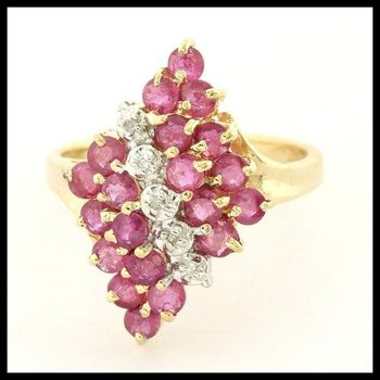 Solid 10k Yellow Gold Genuine Ruby & Diamond Ring Size 6