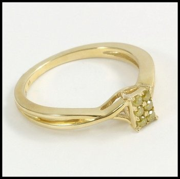 Solid 10k Yellow Gold Genuine Yellow Diamond Ring Size 7