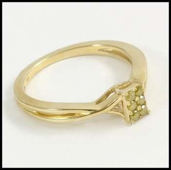 Solid 10k Yellow Gold Genuine Yellow Diamond Ring Size 7