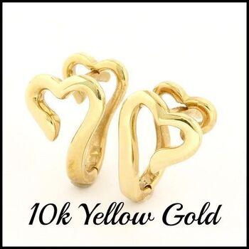 Solid 10k Yellow Gold Heart Shape Earrings