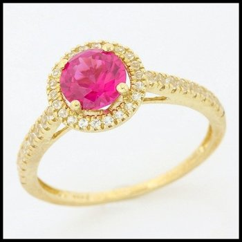 Solid 10k Yellow Gold Ruby Ring Size 7