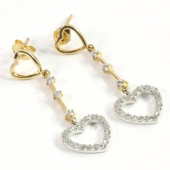 Solid 10k Yellow & White Gold Genuine Diamond Heart Dangle Earrings