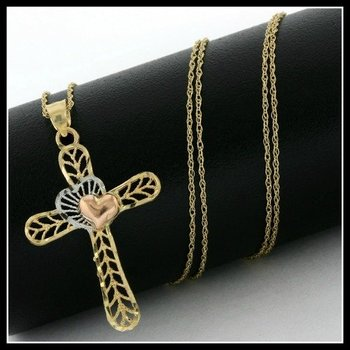 Solid 10k Yellow, White & Rose Gold, Cross Necklace