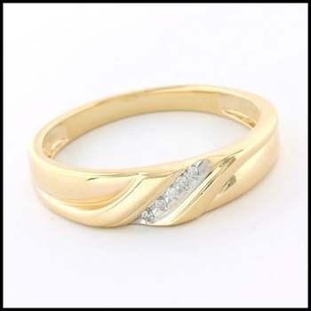 Solid 10k Yellow&White Gold, 0.027ctw Genuine Diamond Unisex Wedding Ring Size 10