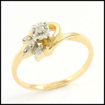 Solid 10k Yellow&White Gold, 0.02ctw Genuine Diamond Ring Size 7