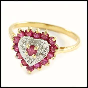 Solid 10k Yellow&White Gold, 0.03ctw Genuine Diamond & 0.45ctw Ruby Ring Size 7