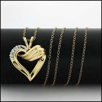 Solid 10k Yellow&White Gold, 0.05ctw Genuine Diamond Heart Necklace