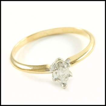 Solid 10k Yellow&White Gold, 0.05ctw Genuine Diamond Solitaire Engagement Ring Size 6.75